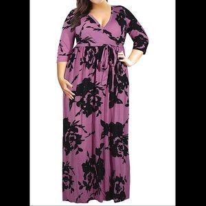🆕3/4 Sleeve Floral Print Plus Size Maxi Dress